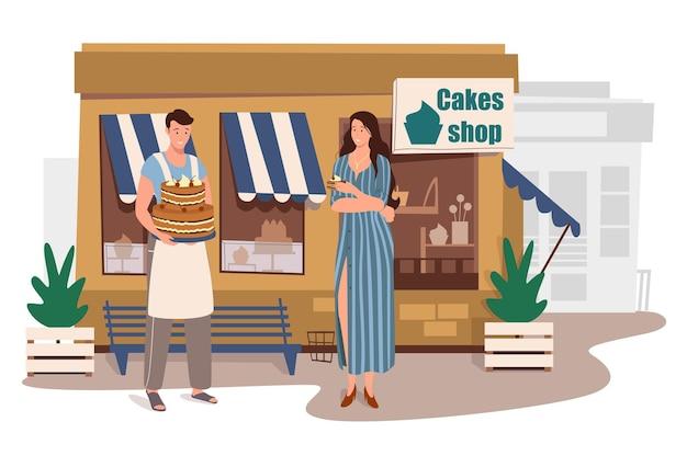 Магазин тортов, строящий веб-концепцию. женщина покупает свежий десерт в магазине. кондитер продает свою продукцию. покупатель стоит у входа