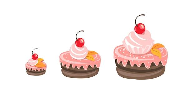 Cakes sizes set. dessert reward. tart fancy cake.