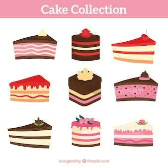Cakes and sweets collection in flat style
