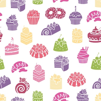 Cakes and sweets seamless pattern background. dessert and food, cream and bakery, vector illustration