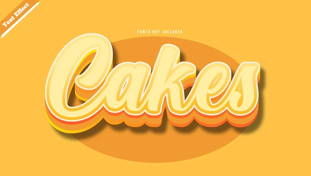 케이크 텍스트 효과 디자인 벡터 벡터입니다. 편집 가능한 3d 텍스트