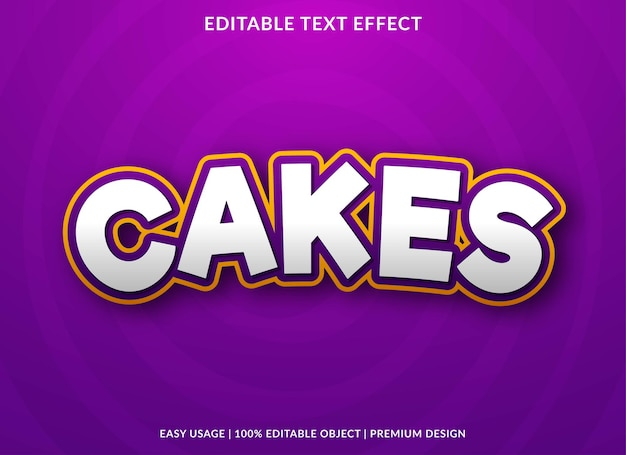 Cakes text effect editable template premium style
