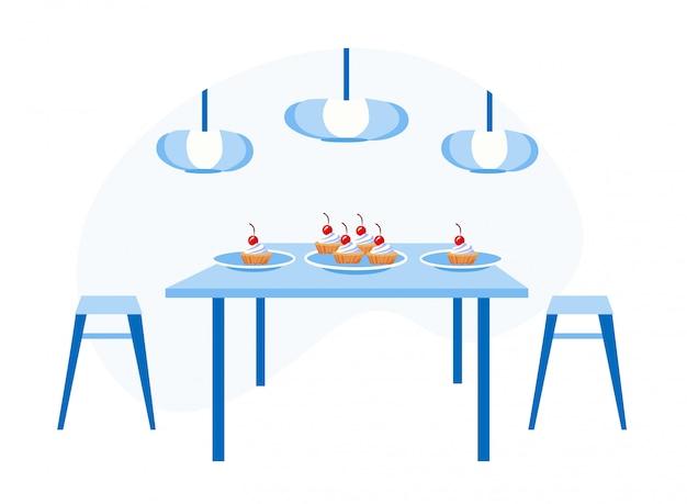 テーブルで白い皿にホイップクリームとケーキ