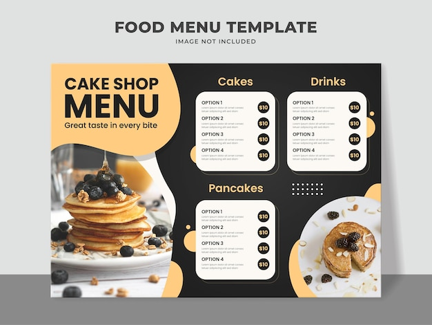 Cakeshop menu template isolated on grey
