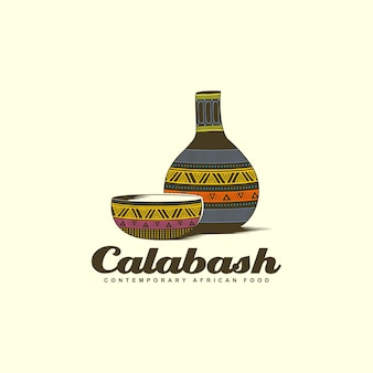 Calabash bowl with water bottle colorful logo design