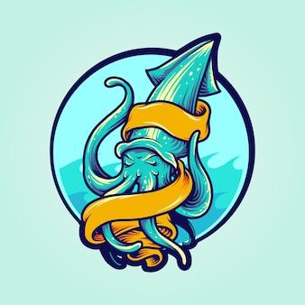 Calamari logo mascot with banner