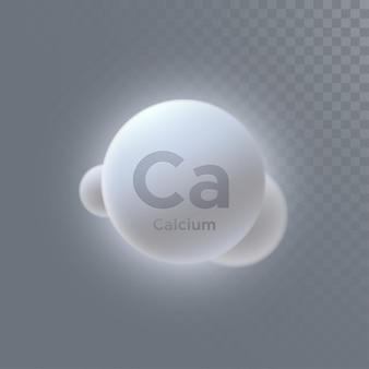 투명 한 배경에 고립 된 칼슘 미네랄 기호