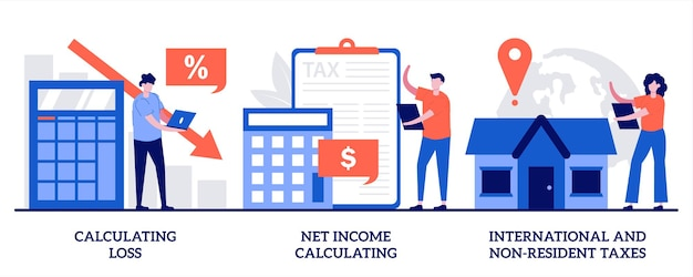 Calculating loss, calculating net income, international and non-resident taxes illustration with tiny people