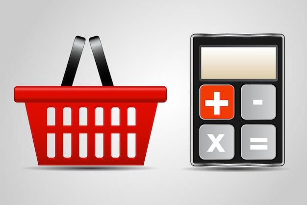 電卓と買い物かごのベクトル図