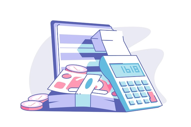Calculator and banknotes flat style illustration