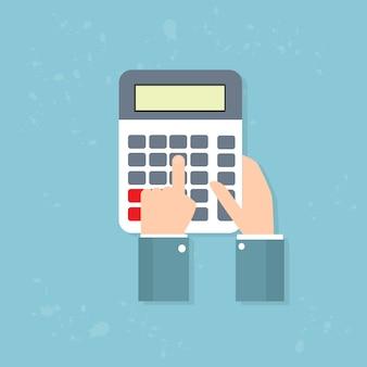 電卓ビジネスマンハンド会計