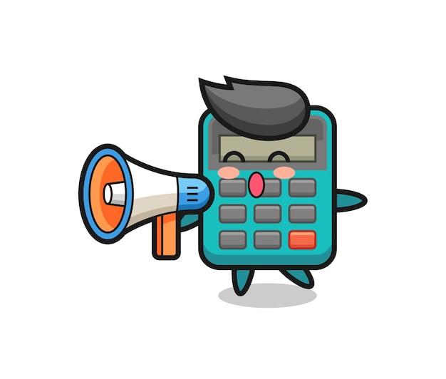 メガホンを持った電卓のキャラクターイラスト、tシャツ、ステッカー、ロゴ要素のかわいいスタイルのデザイン Premiumベクター