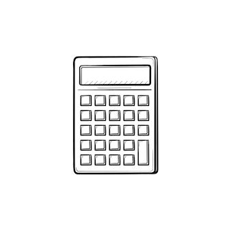 Калькулятор для подсчета рисованной наброски каракули значок. математический калькулятор эскиз векторные иллюстрации для печати, интернета, мобильных устройств и инфографики, изолированные на белом фоне.