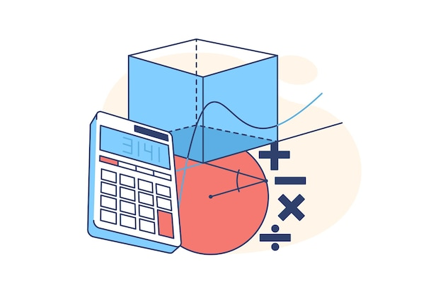 Calculator and geometrical figures flat style illustration