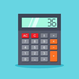 Calculator icon in a trendy flat style isolated on blue