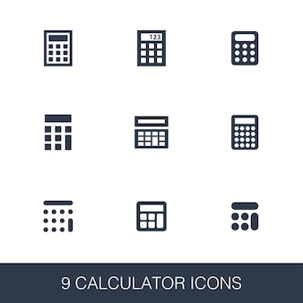 Calculator icons set. simple design glyph signs. calculator symbol template. universal style icon, can be used for web and mobile ui