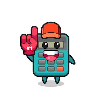 Calculator illustration cartoon with number 1 fans glove , cute style design for t shirt, sticker, logo element
