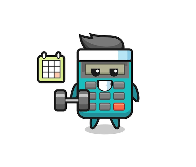 Calculator mascot cartoon doing fitness with dumbbell , cute style design for t shirt, sticker, logo element Premium Vector