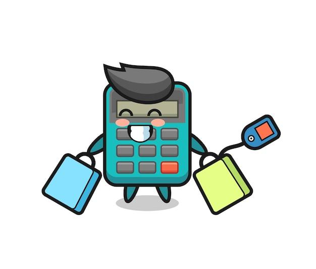 ショッピングバッグを保持している電卓のマスコット漫画、tシャツ、ステッカー、ロゴ要素のかわいいスタイルのデザイン