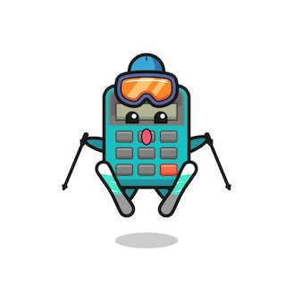 Calculator mascot character as a ski player , cute style design for t shirt, sticker, logo element