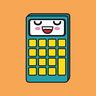 Calculator math character kawaii