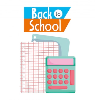 Calculator and papers grid sheet cartoon illustration