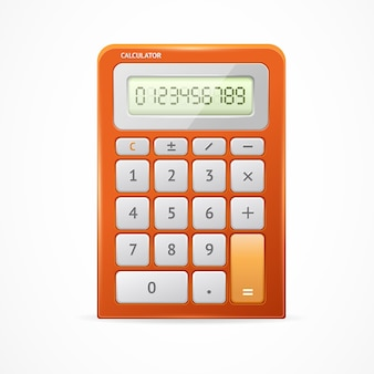 Calculator red isolated on white background.
