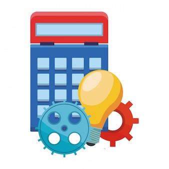 Calculator with gears and big idea