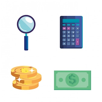 Calculator with magnifying glass and money cash