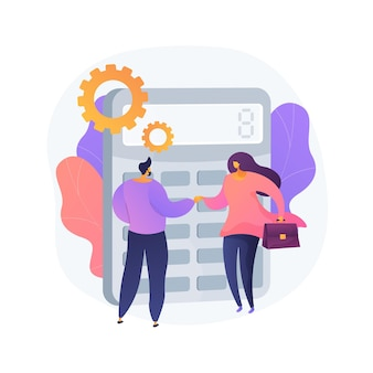 Calculator with number. financial deal. confirming with handshake. calculating operation, audit, venture capital. economical partnership. vector isolated concept metaphor illustration.