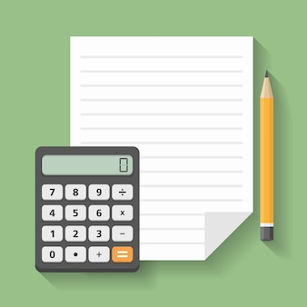 Calculator with paper and pencil, financial