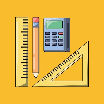 Calculator with rulers and pencil