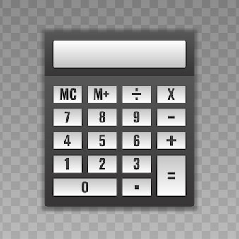 Calculator with white buttons.