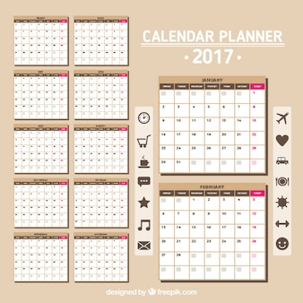 Calendar 2017 in brown color