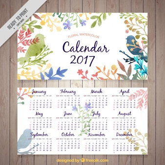 Calendar 2017 of watercolor leaves