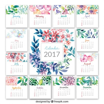 Calendar 2017 with watercolor flowers