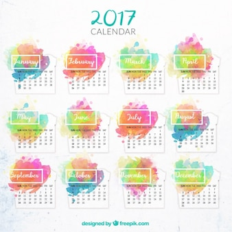 calendar 2017 with watercolor stains