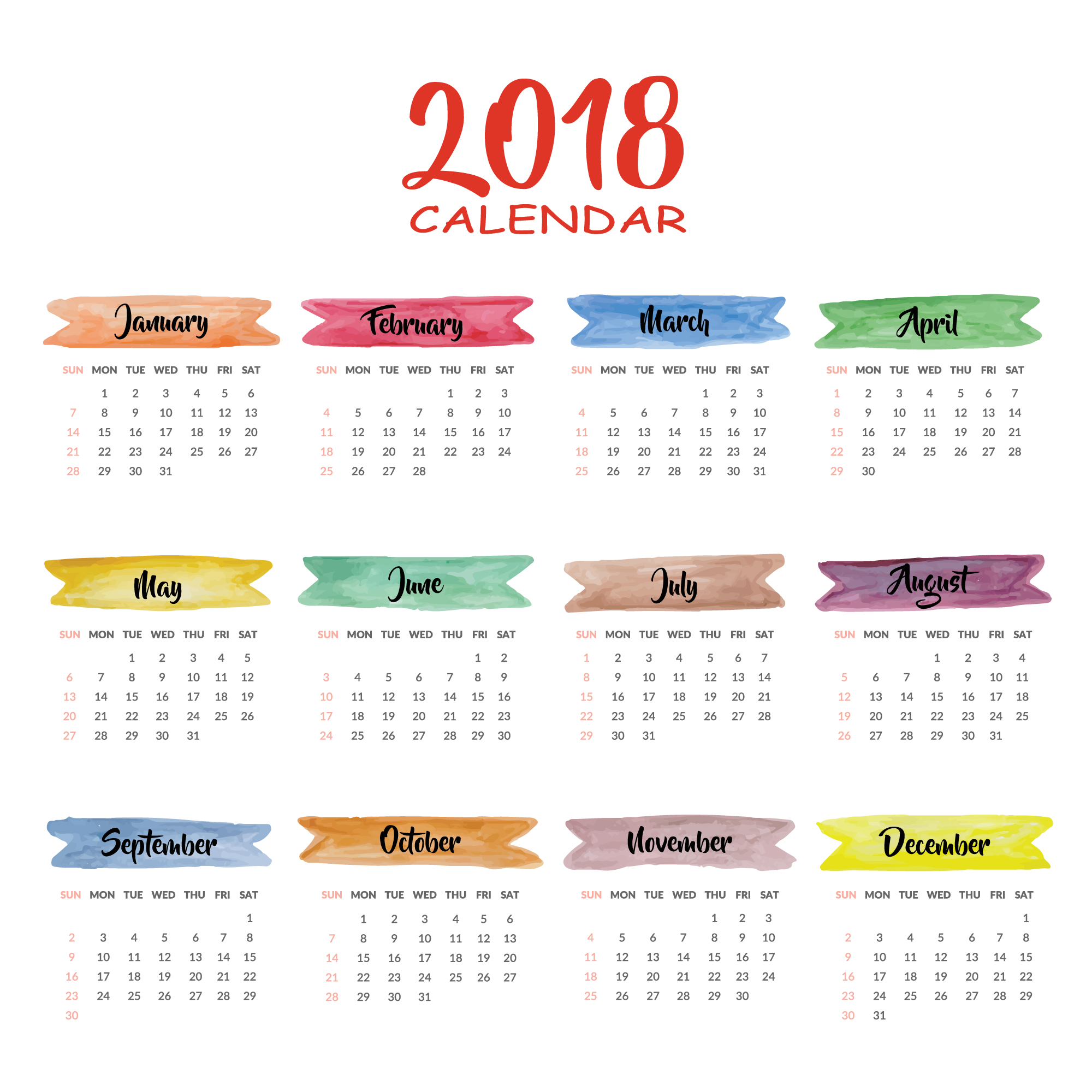 Calendar 2018 multicolor design