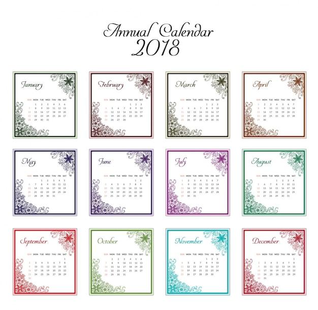 カレンダー2018装飾的なデザイン