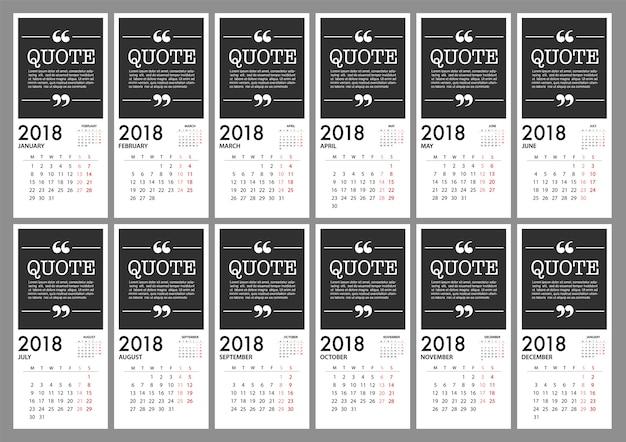 Calendar for 2018 template design