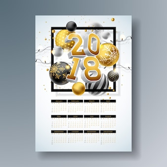 Calendar 2018 template illustration with gold 3d number, christmas ball and light garland on shiny background