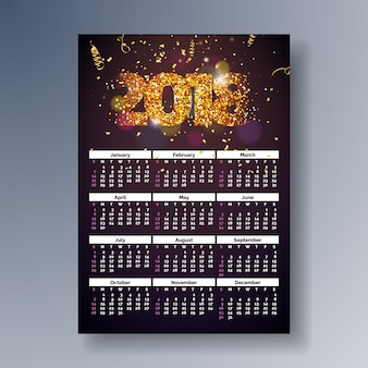Calendar 2018 template illustration with shiny sparkling number on falling confetti background