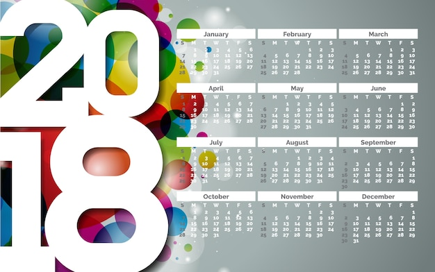 Calendar 2018 template illustration with white number on abstract colorful background