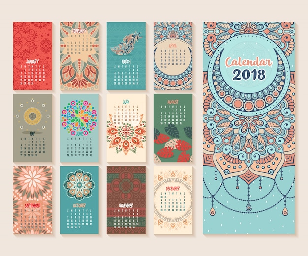 Calendar 2018. vintage decorative elements. oriental pattern, vector illustration.