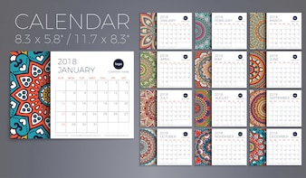 Calendar 2018. Vintage decorative elements. Oriental pattern, vector illustration.