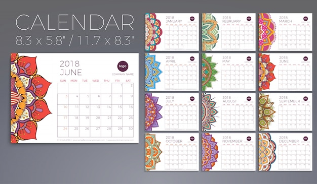 Calendar 2018 vintage decorative elements