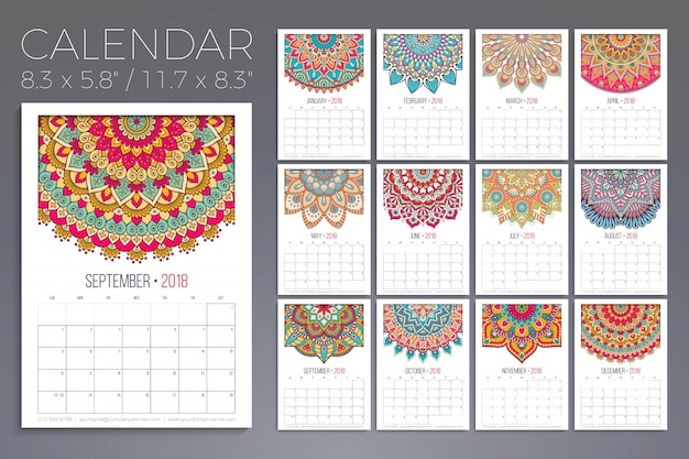 Calendar 2018. vintage decorative elements