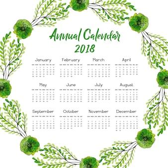 녹색 잎 달력 2018