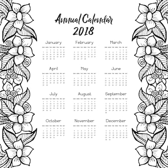 Calendar 2018 with hand drawn floral design