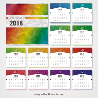 Calendar 2018 with polygonal shapes of colors